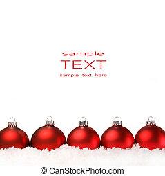 vermelho, natal, bolas, com, neve, isolado, branco
