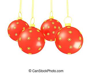 vermelho, natal, bolas, isolado, branco