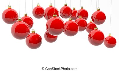 vermelho, natal, bolas, isolado, branco, experiência.