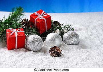 vermelho, natal, bolas, ligado, neve