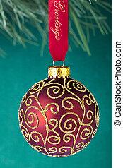 vermelho, natal, bulbo, com, brilhante, decoração