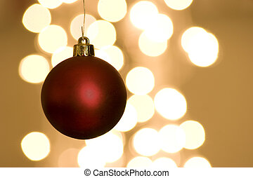 vermelho, natal, bulbo, com, luzes