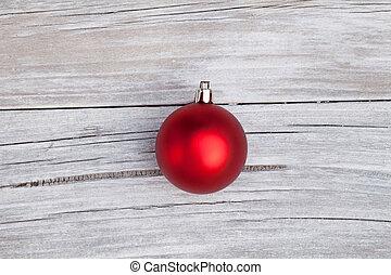 vermelho, natal, bulbo, ligado, rústico, madeira