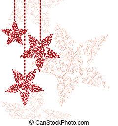 vermelho, natal, estrela, ornamentos
