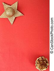 vermelho, natal, fundo, com, dourado, estrela, bola, e, cone