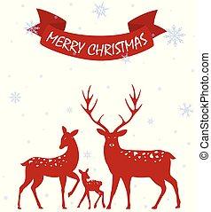 vermelho, natal, veado, com, árvore vidoeiro