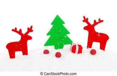 vermelho, natal, veado, xmas, decoração, com, espaço cópia, isolado, ov