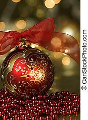 vermelho, ornamento, feriado, fundo