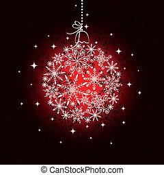 vermelho, ornamento natal, bola, ligado, seamless, padrão, fundo