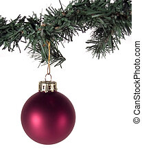 vermelho, ornamento natal, e, filial árvore, isolado
