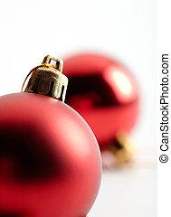 vermelho, ornamento natal