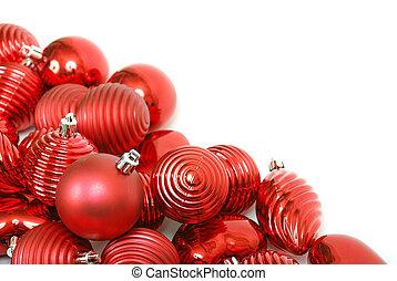 vermelho, ornamento natal, fundo