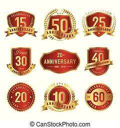 vermelho, ouro, anos, aniversário, etiqueta