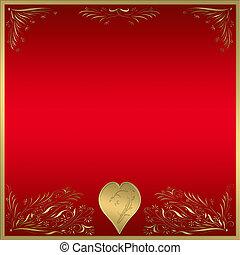 vermelho, ouro, quadro