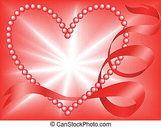 vermelho, pérola, coração