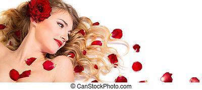 vermelho, pétalas, rosa, em, penteado