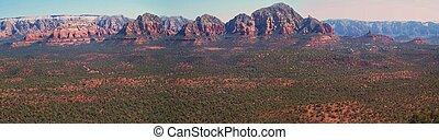 vermelho, paisagem, pedras