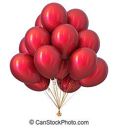 vermelho, partido, balões, feliz aniversário, decoração, lustroso