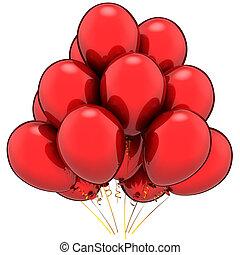 vermelho, partido, balloons., alegre, conceito