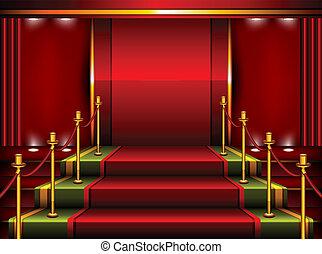 vermelho, pedestal