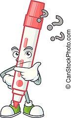 vermelho, pensando, tábua, branca, personagem, marcador