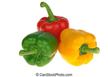 vermelho, pimentas, sino, verde, amarela