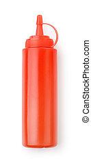 vermelho, plástico, garrafa ketchup, molho