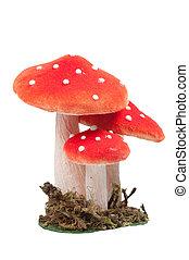 vermelho, pontilhado, decoração, cogumelos, isolado