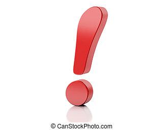 vermelho, ponto de exclamação, 3d, ilustração