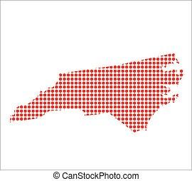 vermelho, ponto, mapa, de, carolina norte