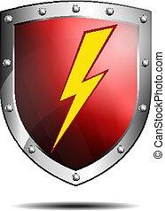 vermelho profundo, escudo, com, parafuso relâmpago, proteção, ícone, ou, símbolo