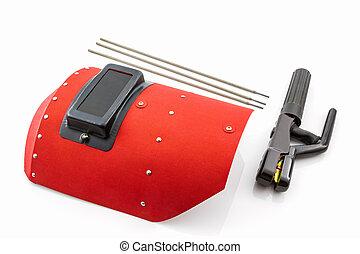 vermelho, protetor, tela, e, rod-holder, com, soldadura,...