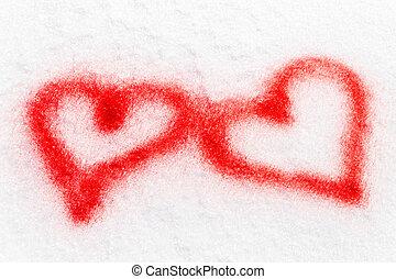 vermelho, pulverizado, dois corações, neve