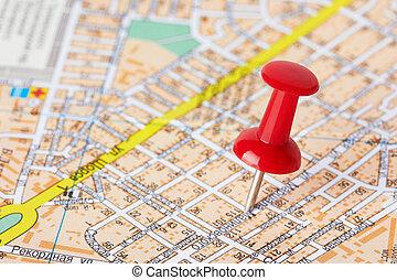 vermelho, pushpin, ligado, um, mapa