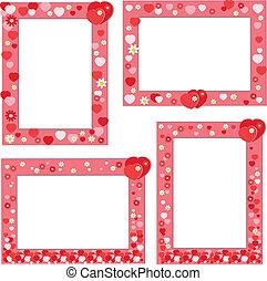 vermelho, quadro, com, corações, e, flores