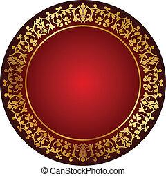 vermelho, quadro, com, ouro, ornamento