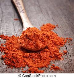 vermelho quente, páprica, pó, ligado, colher madeira