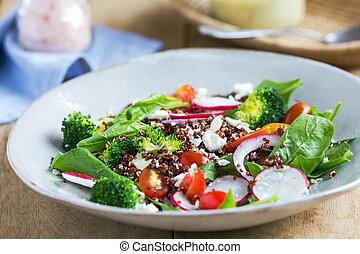 vermelho, quinoa, com, espinafre, e, queijo feta, salada