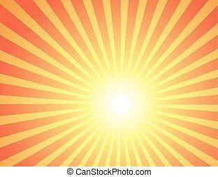 vermelho, raios, de, a, sun.