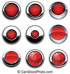 vermelho, redondo, botões, com, cromo, borders.