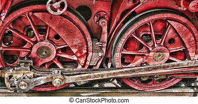 vermelho, retro, trem, rodas
