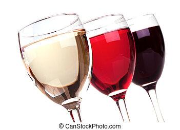 vermelho, rosa, e, vinho branco, em, um, copos de vinho
