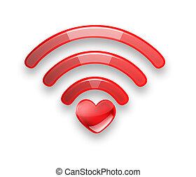 vermelho, símbolo, de, a, livre, wi fi