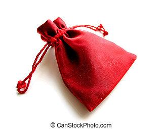 vermelho, sachet, fundo branco