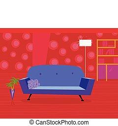 vermelho, sala de estar, em, estilo retro