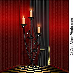 vermelho, sala, e, pretas, lustre