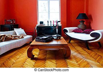 vermelho, sala, vivendo