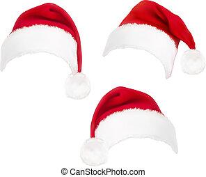 vermelho, santa, hats., vector.