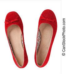 vermelho, sapatos planos