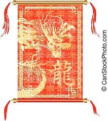 vermelho, scroll, dragão chinês